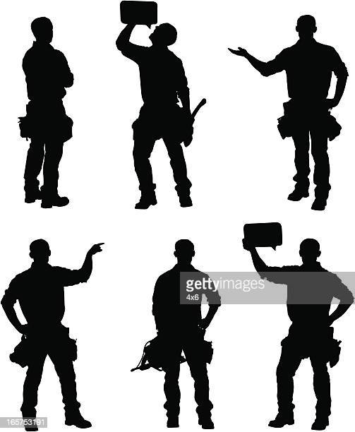 handy man silhouettes - carpentry stock illustrations