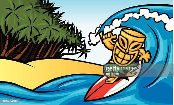 hang loose tiki - hawaiian ethnicity stock illustrations, clip art, cartoons, & icons