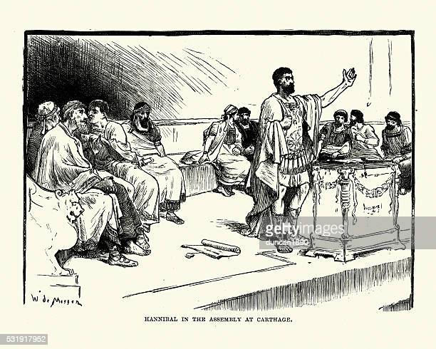 hannibal in the assembly at carthage - tunisia stock illustrations, clip art, cartoons, & icons