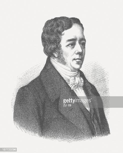 illustrazioni stock, clip art, cartoni animati e icone di tendenza di hans christian ørsted (1777 – 1851) - elettromagnetismo