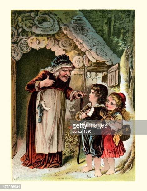 hansel and gretel - gingerbread house stock illustrations, clip art, cartoons, & icons