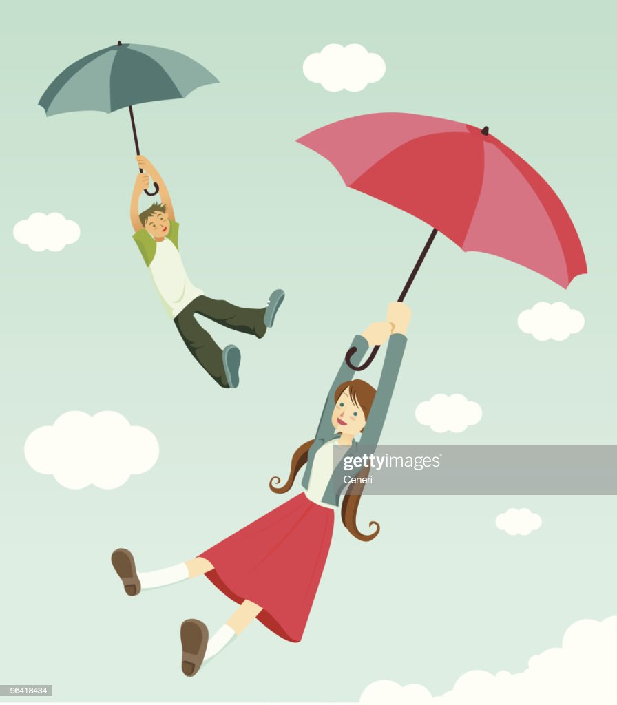 happiness is two teenagers flying with umbrellas : stock illustration