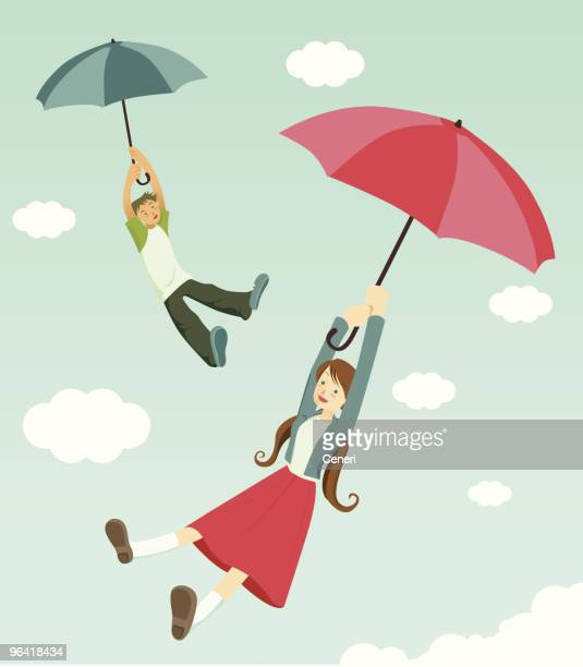 happiness is two teenagers flying with umbrellas
