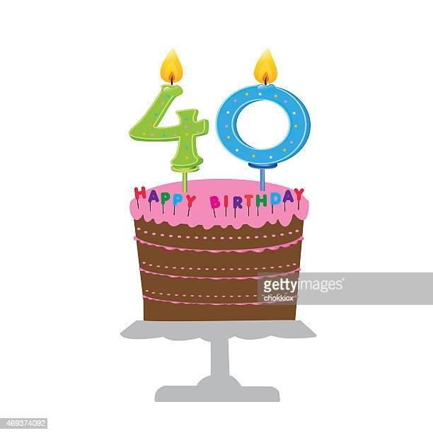 ハッピー 40 歳の誕生日 - 数字の40点のイラスト素材/クリップアート素材/マンガ素材/アイコン素材