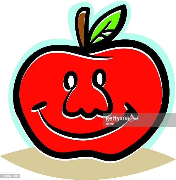 happy apple - cartoon characters with big noses stock illustrations, clip art, cartoons, & icons