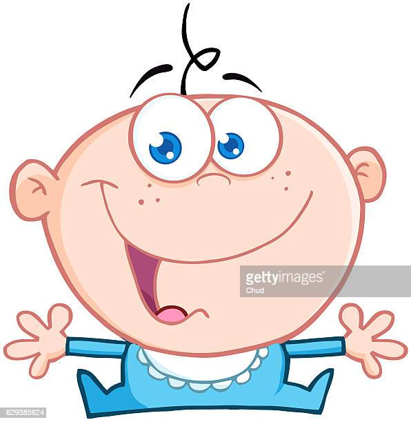 happy baby boy with open arms - baby stock illustrations