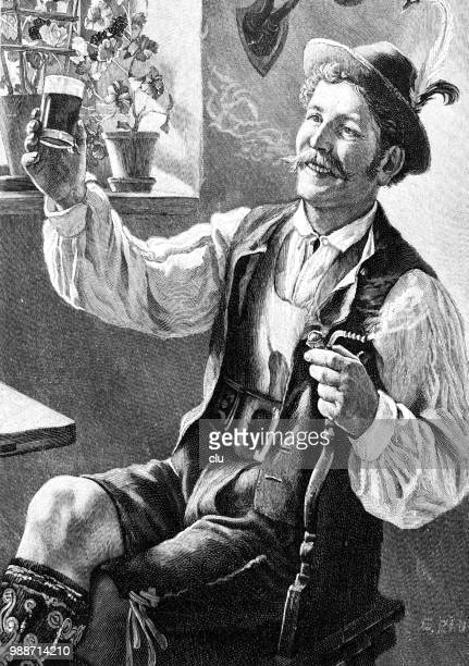 happy bavarian young man cheering in restaurant - bavaria stock illustrations