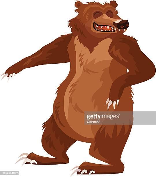 ilustraciones, imágenes clip art, dibujos animados e iconos de stock de feliz bear - oso pardo