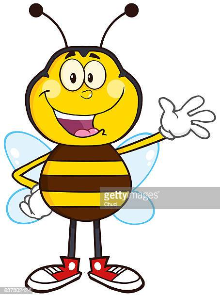 happy bee cartoon mascot character waving - bumblebee stock illustrations, clip art, cartoons, & icons