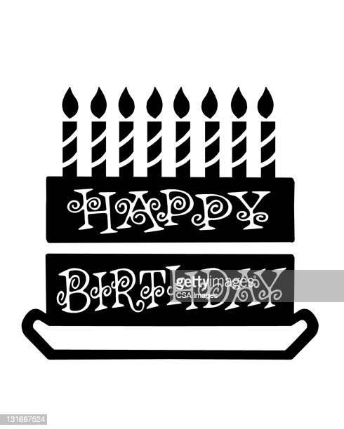 happy birthday cake - cake stock illustrations