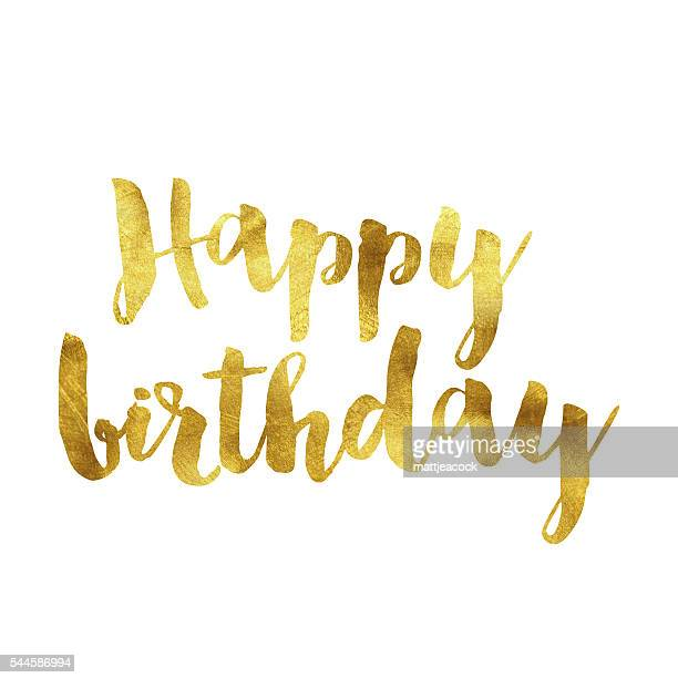 happy birthday gold foil message - happy birthday banner stock illustrations