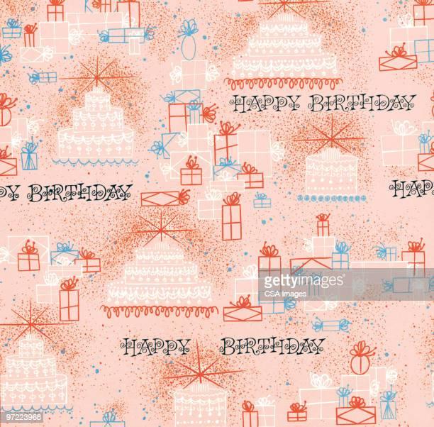 happy birthday pattern - cake stock illustrations