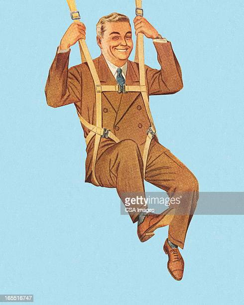 happy businessman skydiving - paratrooper stock illustrations, clip art, cartoons, & icons