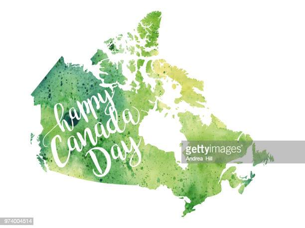 happy canada day raster watercolor map - canada day stock illustrations