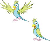 Happy Cartoon Parrots