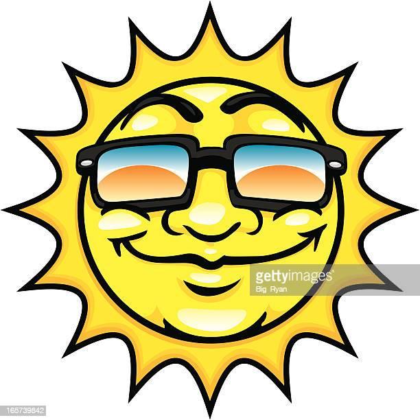 ilustraciones, imágenes clip art, dibujos animados e iconos de stock de feliz de dibujos animados de sol - sol en la cara