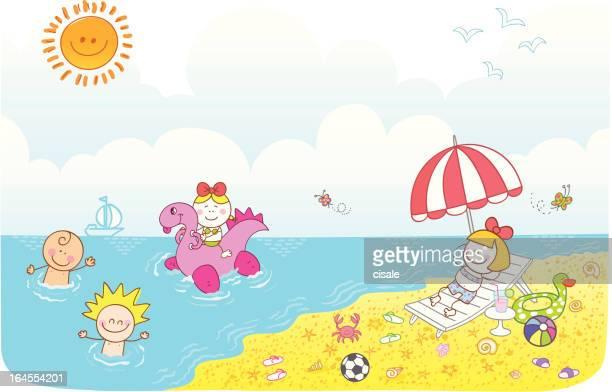 illustrations, cliparts, dessins animés et icônes de enfants heureux amis s'amusant à la plage d'été cartoon illustration - matelas pneumatique