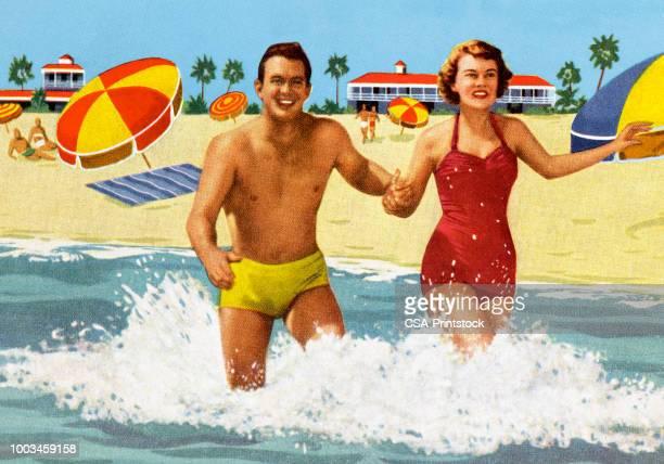 stockillustraties, clipart, cartoons en iconen met gelukkige paar op het strand - verblijfsoord