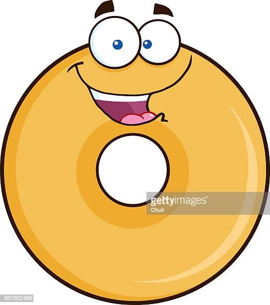 happy donut cartoon character - breakfast cartoon stock illustrations