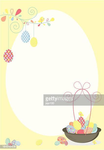 ilustrações, clipart, desenhos animados e ícones de feliz páscoa convidar ou entre - cesta de páscoa