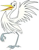 Happy Egret Bird Cartoon