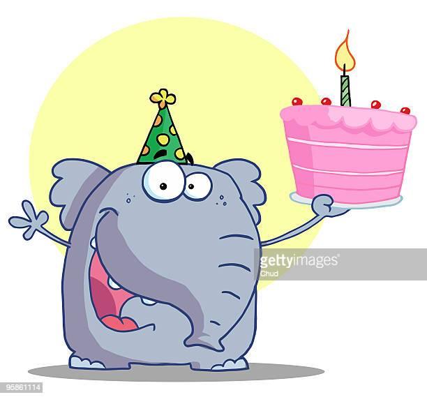 happy elephant holds birthday cake - cake stock illustrations