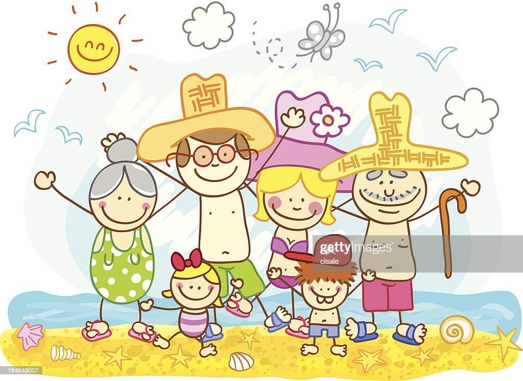 Happy Family At Summer Holiday Cartoon High Res Vector Graphic Getty Images