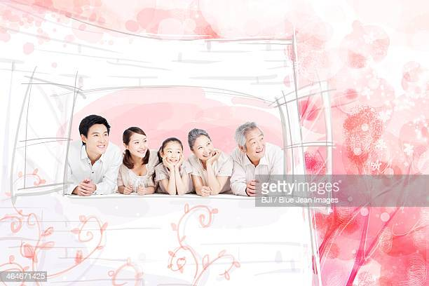 happy family looking at view through window - 8 9 years stock illustrations, clip art, cartoons, & icons