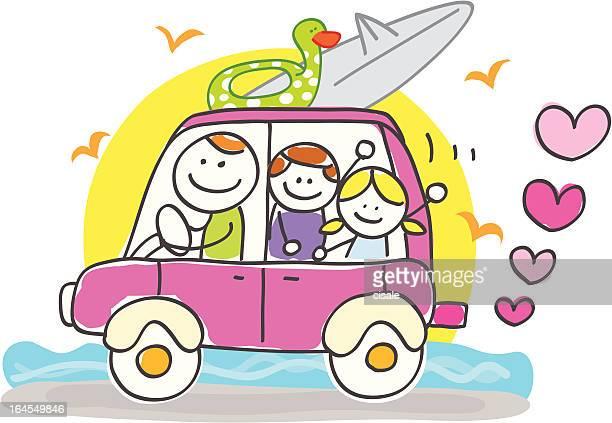 happy family riding to summer holiday cartoon illustration