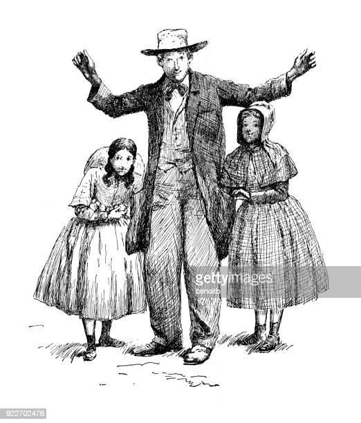 Gelukkig vader met dochters