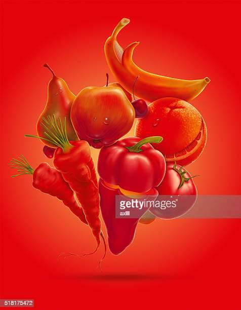 happy fruits vegetables
