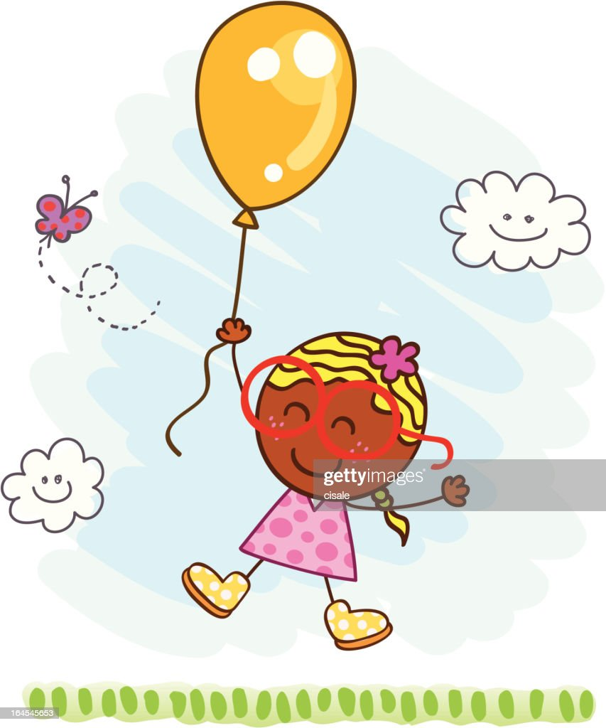 happy girl flying with a balloon at nature cartoon illustration : stock illustration