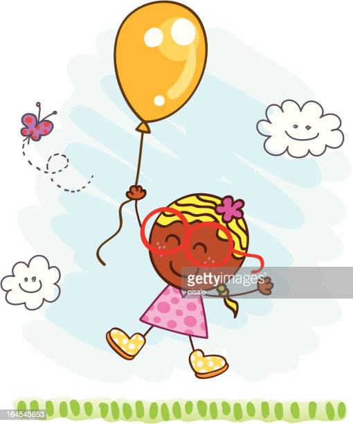 happy girl flying with a balloon at nature cartoon illustration - one girl only stock illustrations, clip art, cartoons, & icons