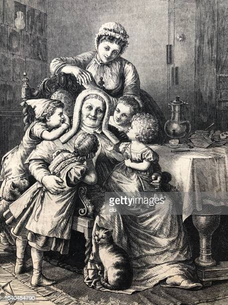 Happy grandmother surrounded by her grandchildren and daughter