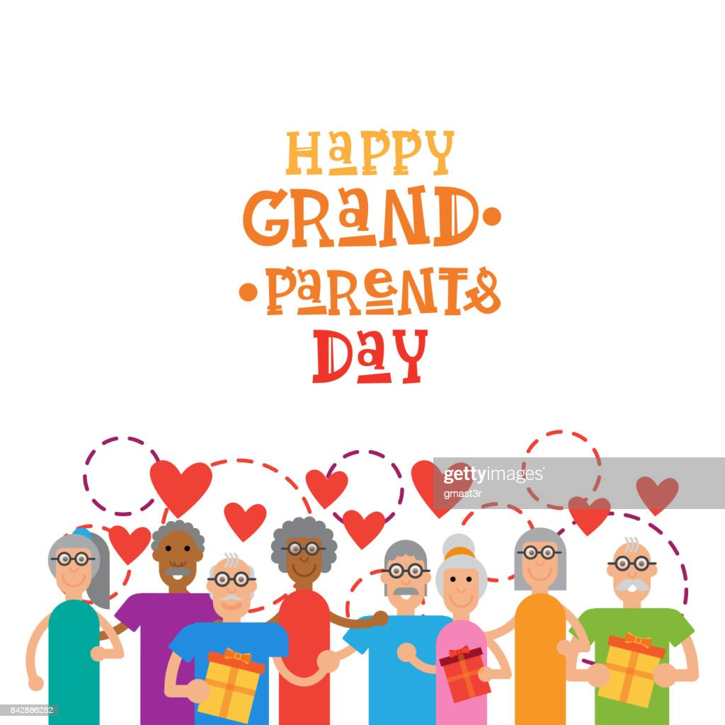 Happy Grandparents Day Greeting Card Banner Stock Illustration