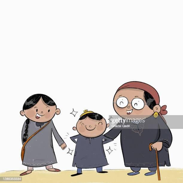 happy kashmiri family in pherans - headwear stock illustrations