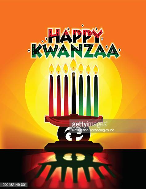 'happy kwanzaa' above kinara with burning candles - kwanzaa stock illustrations, clip art, cartoons, & icons
