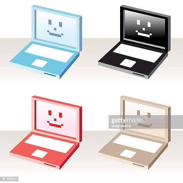 ilustraciones, imágenes clip art, dibujos animados e iconos de stock de feliz computadoras portátiles - sistema operativo