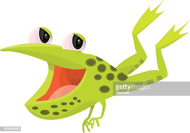 happy leaping frog - webbed foot stock illustrations, clip art, cartoons, & icons