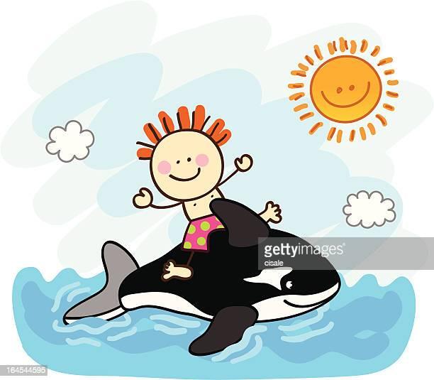 illustrations, cliparts, dessins animés et icônes de heureux petit garçon natation sur la petite cartoon illustration - matelas pneumatique