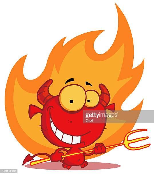 happy little devil with pitchfork - 邪悪点のイラスト素材/クリップアート素材/マンガ素材/アイコン素材
