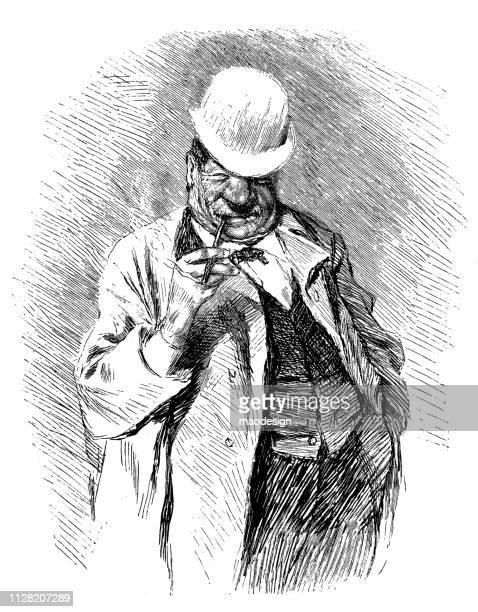 stockillustraties, clipart, cartoons en iconen met gelukkig mens met een sigaret - 1896 - karikatuur