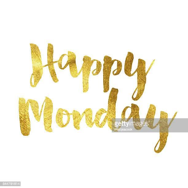 Heureux lundi un message de feuille d'or