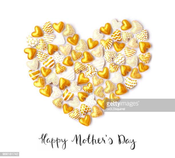 happy mother's day - handmade greeting card with 3d gold hearts arranged in one big heart and handwritten text - mothers day text art stock illustrations