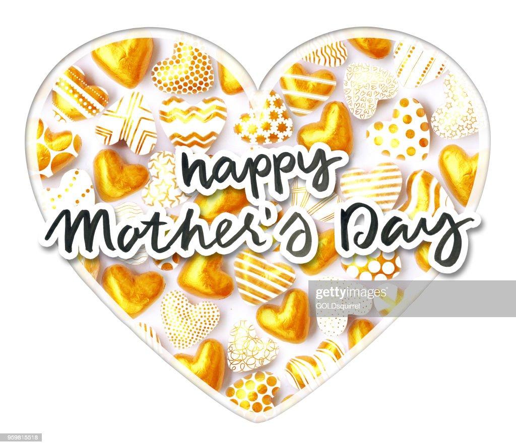 Glücklich Muttertag Text geschrieben in Tinte Papier mit einem Rahmen um geschnitten und über das große Herz gefüllt mit kleinen 3D gold Herzformen - Papier Kunst Komposition platziert : Stock-Illustration