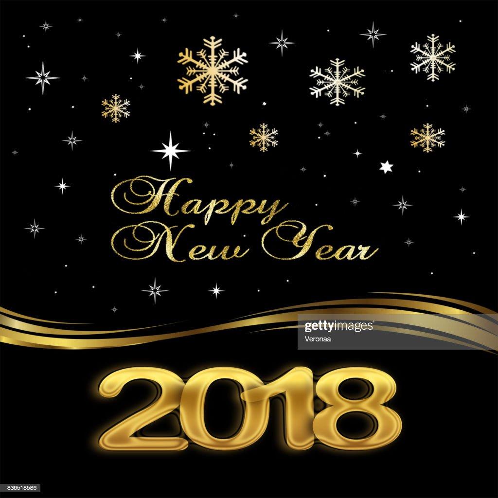 happy new year 2018 elegant black background stock illustration