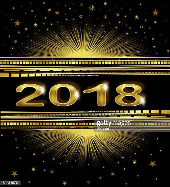 happy new year 2018! - glühend stock illustrations