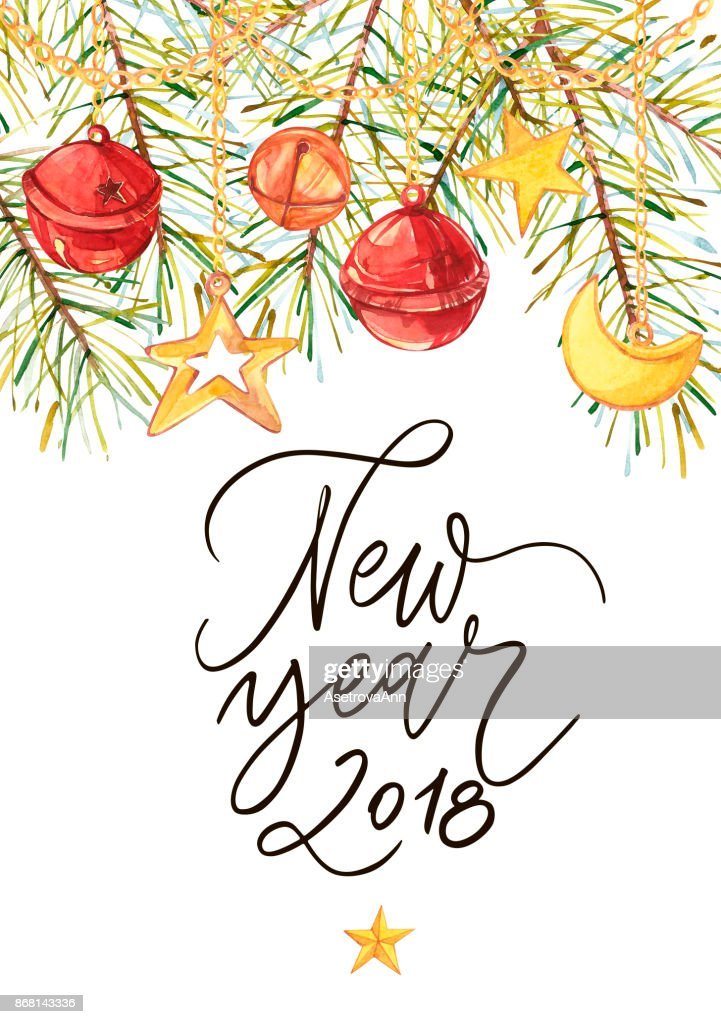 Happy New Year 2018 Phrase Holiday Lettering Illustration ...