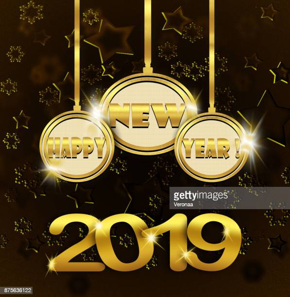 happy new year 2019 - glühend stock illustrations