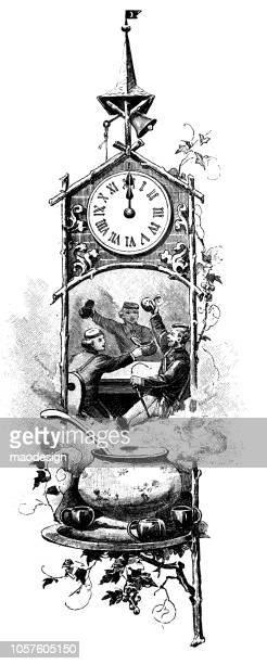 Happy New Year. The clock shows 12 o'clock